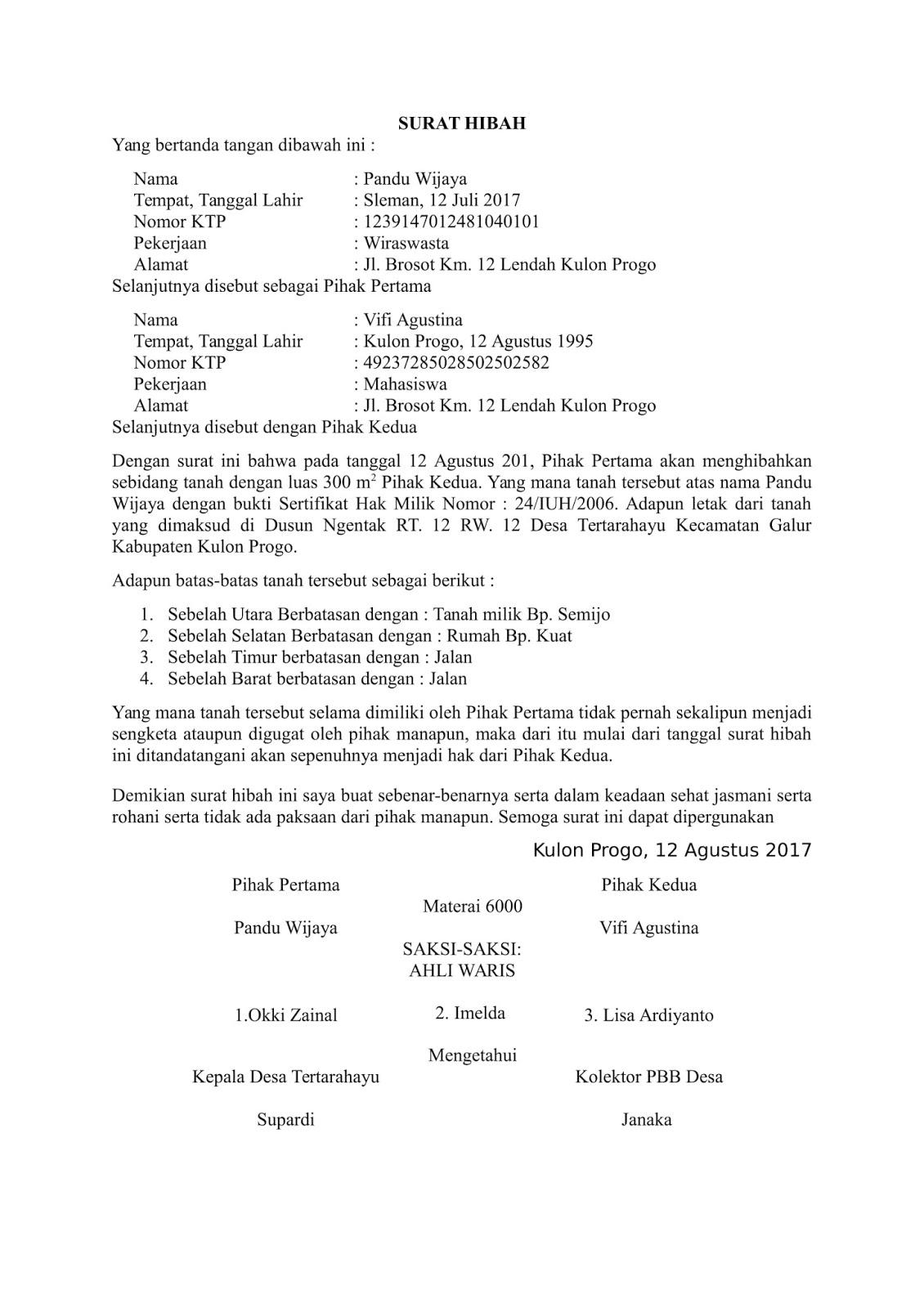 contoh surat ahli waris - wood scribd indo