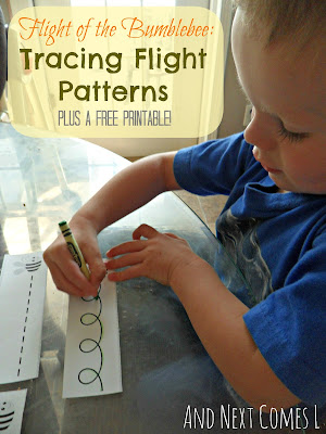 Flight of the Bumblebee Music Appreciation for kids: Tracing flight patterns with free printable from And Next Comes L