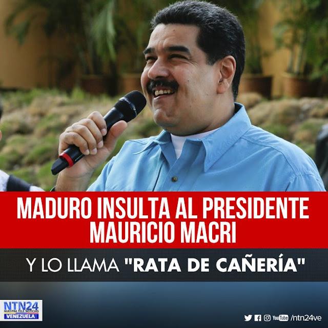 """Maduro llama """"rata de cañería"""" al presidente argentino Mauricio Macri"""