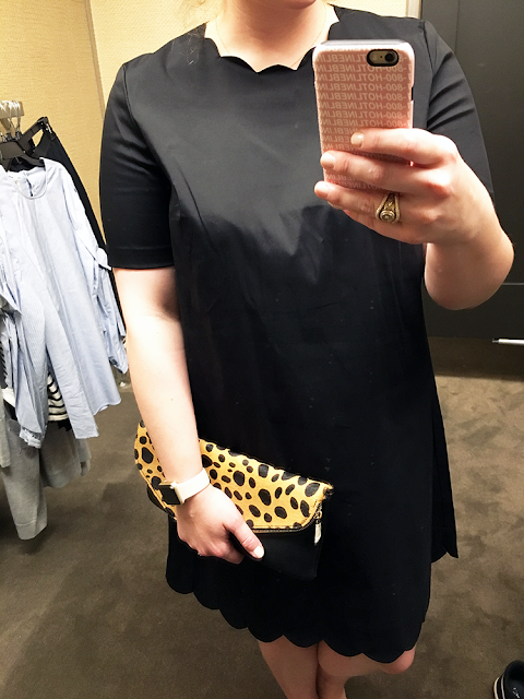 nordstrom anniversary sale 2017 early access shopping halogen scalloped shift dress in black So, here we go!  Sole society leopard clutch fall fashion style .png