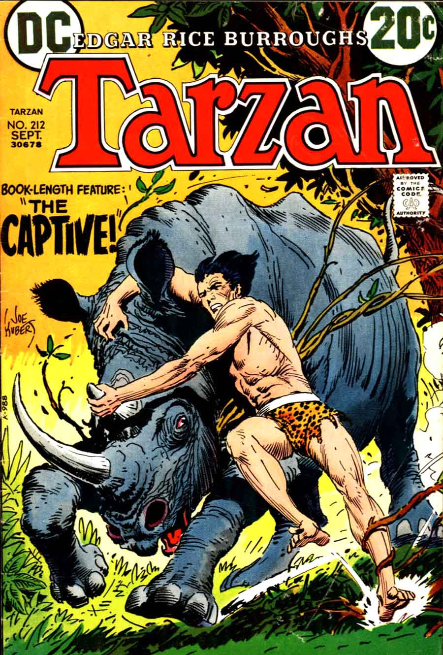Joe Kubert bronze age dc 1970s comic book cover - Tarzan #212
