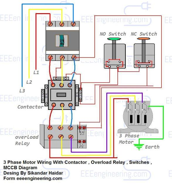 Wiring magnetic contactor diagram for 3 phase motor to single phase