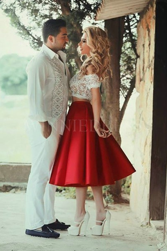 949e8611ac7 Off the Shoulder Handmade Flowers White Crop Top Red Satin Skirt Two Piece  Prom Dress WNPD0318