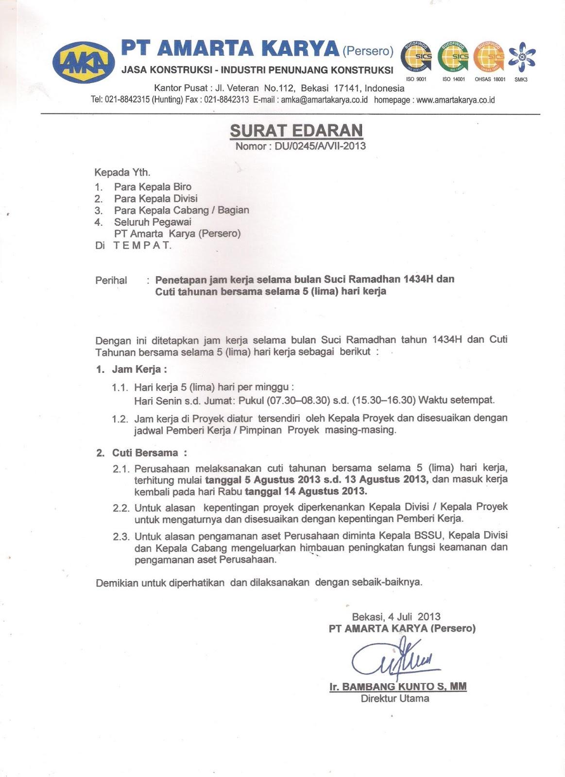 Contoh Surat Edaran Perjalanan Dinas
