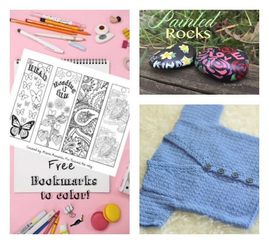 free printable coloring bookmarks, painted kindness rocks, crochet cardigan - Home Crafts by Ali favorite pins from UPP 164