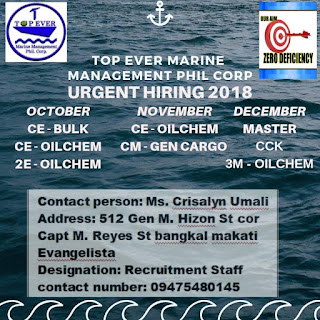 Seaman jobs hring crew deployment October-November-December 2018 maritime jobs, marine job updated
