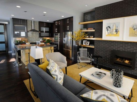 Modern Small Living Room Kitchen Combination
