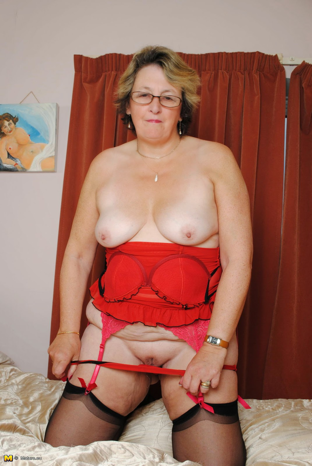 Mature Lovers Bbw Granny In Red Lingerie-6476