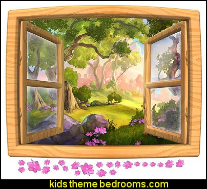 Cartoon Forest Window Wall Decal winnie the pooh bedroom fun wall decorations