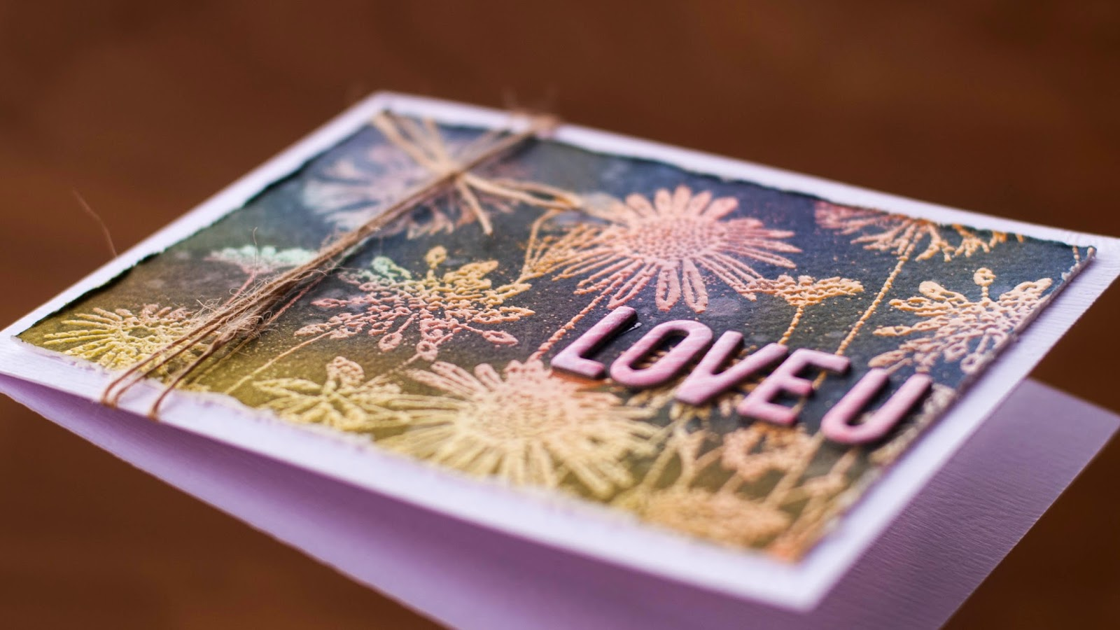 emboss resist with solid stamps - valentine card #4 - side view