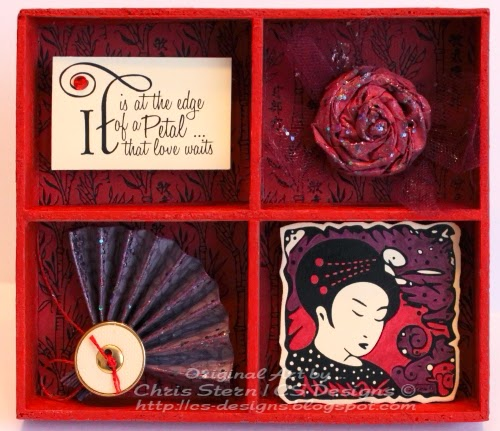 Recycled Altered Asian Art Shadow Box