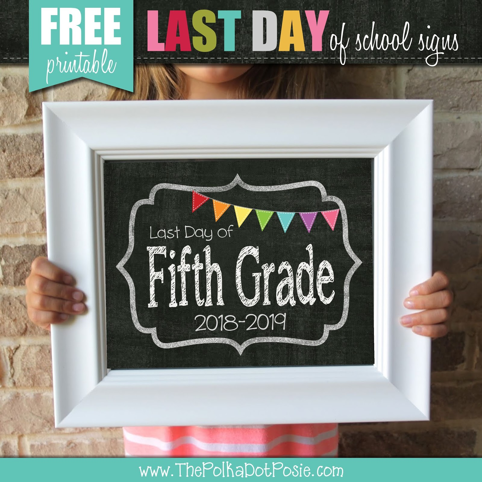 image relating to Last Day of School Signs Printable titled The Polka Dot Posie: Cost-free Printable Remaining Working day of College or university Signs or symptoms!
