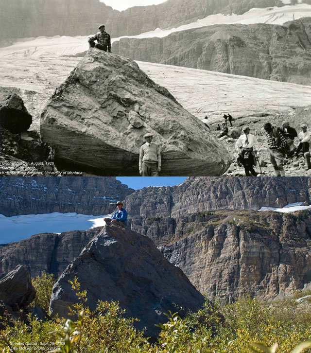 You Still Think Climate Change Is A Hoax These 20 Before-And-After Photos Will Leave You Speechless! - 1926 AND 2008: GRINNELL GLACIER IN MONTANA