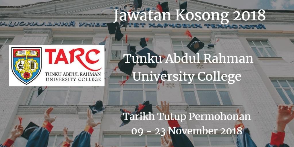 Jawatan Kosong TARUC 09 - 23 November 2018