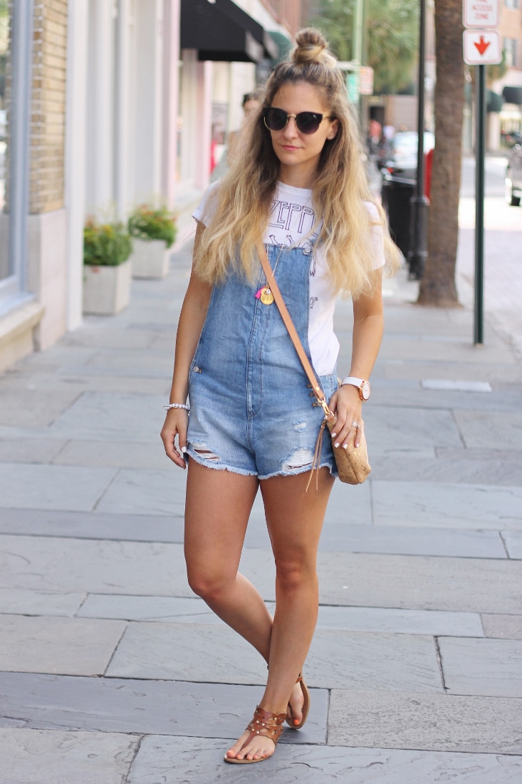 how to wear Overall Short outfit
