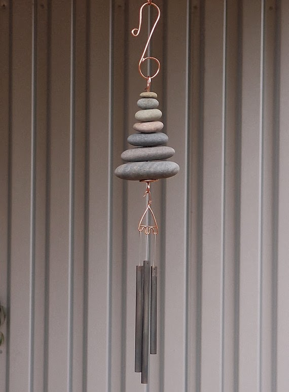 A natural Pacific beach stone wind chime, handcrafted by Coast Chiimes