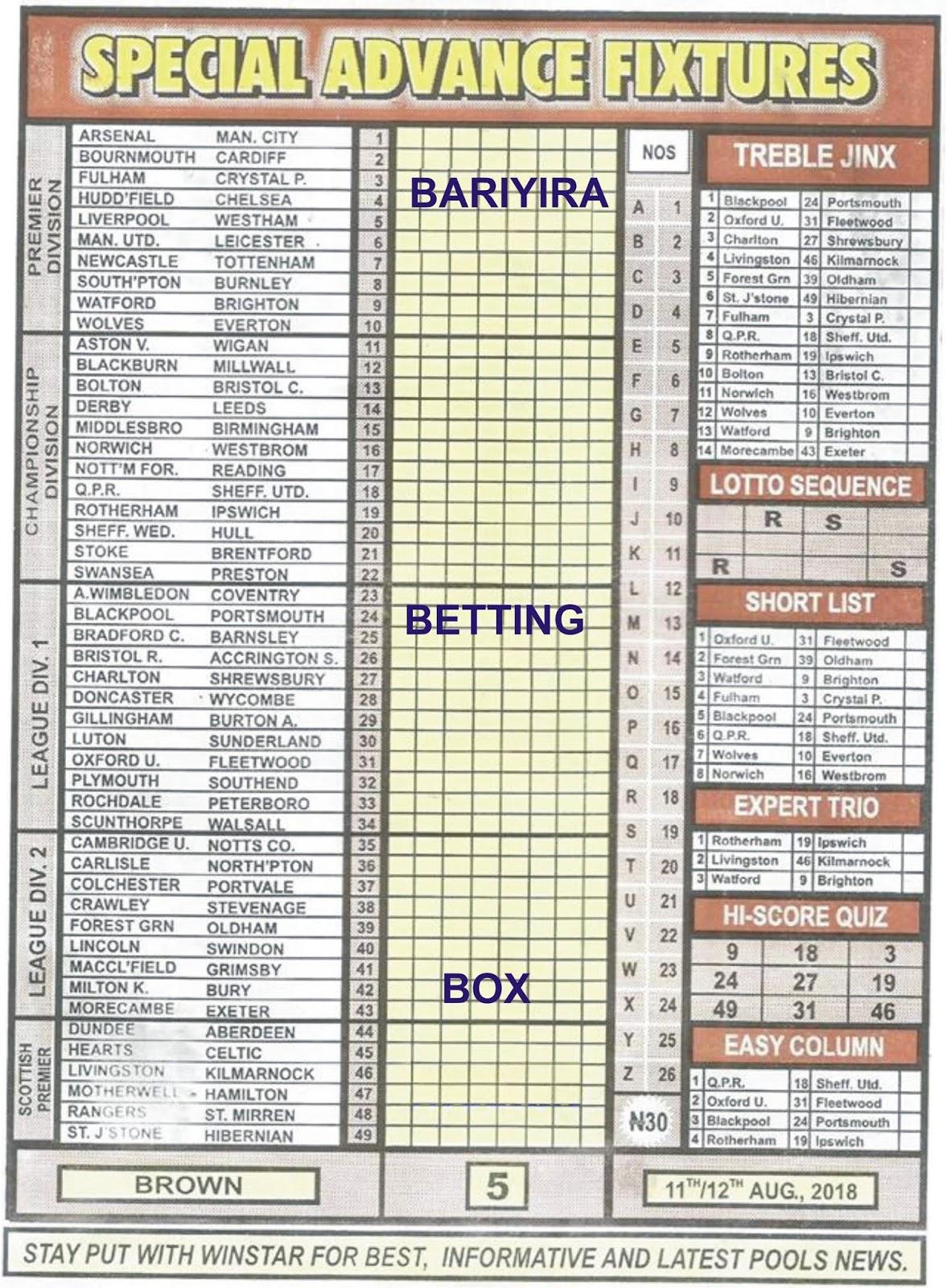BARIYIRA-BETTING-BOX : WeeK 05 Pool Coupon