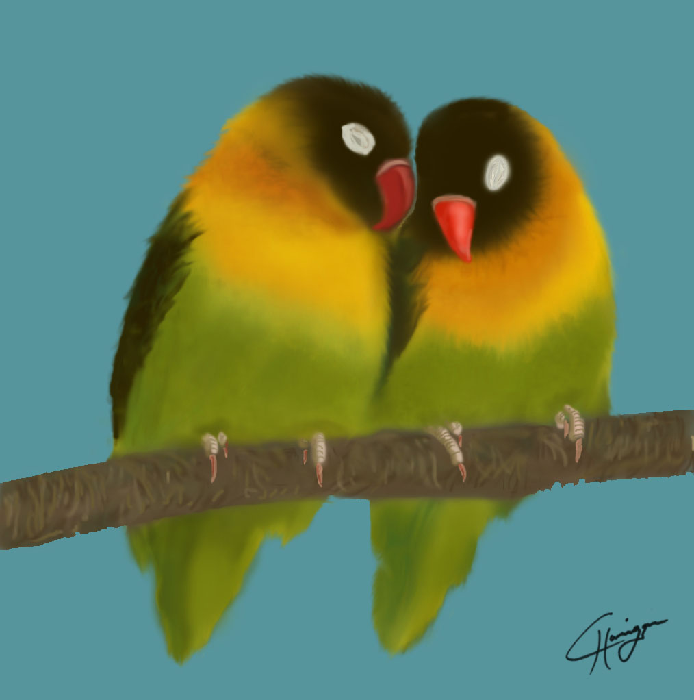 Happy Campers Love Birds Digital Painting
