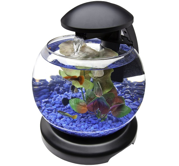 Aquarium Bulat Mini dengan Air Terjun - Aquarium Mini