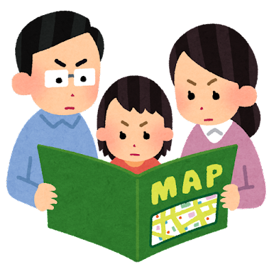 真剣な顔で地図を見ている家族のイラスト