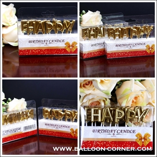 Lilin Ultah Motif Happy Birthday Warna Gold Silver