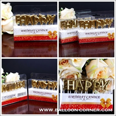 Lilin Ultah Motif HAPPY BIRTHDAY Warna Gold