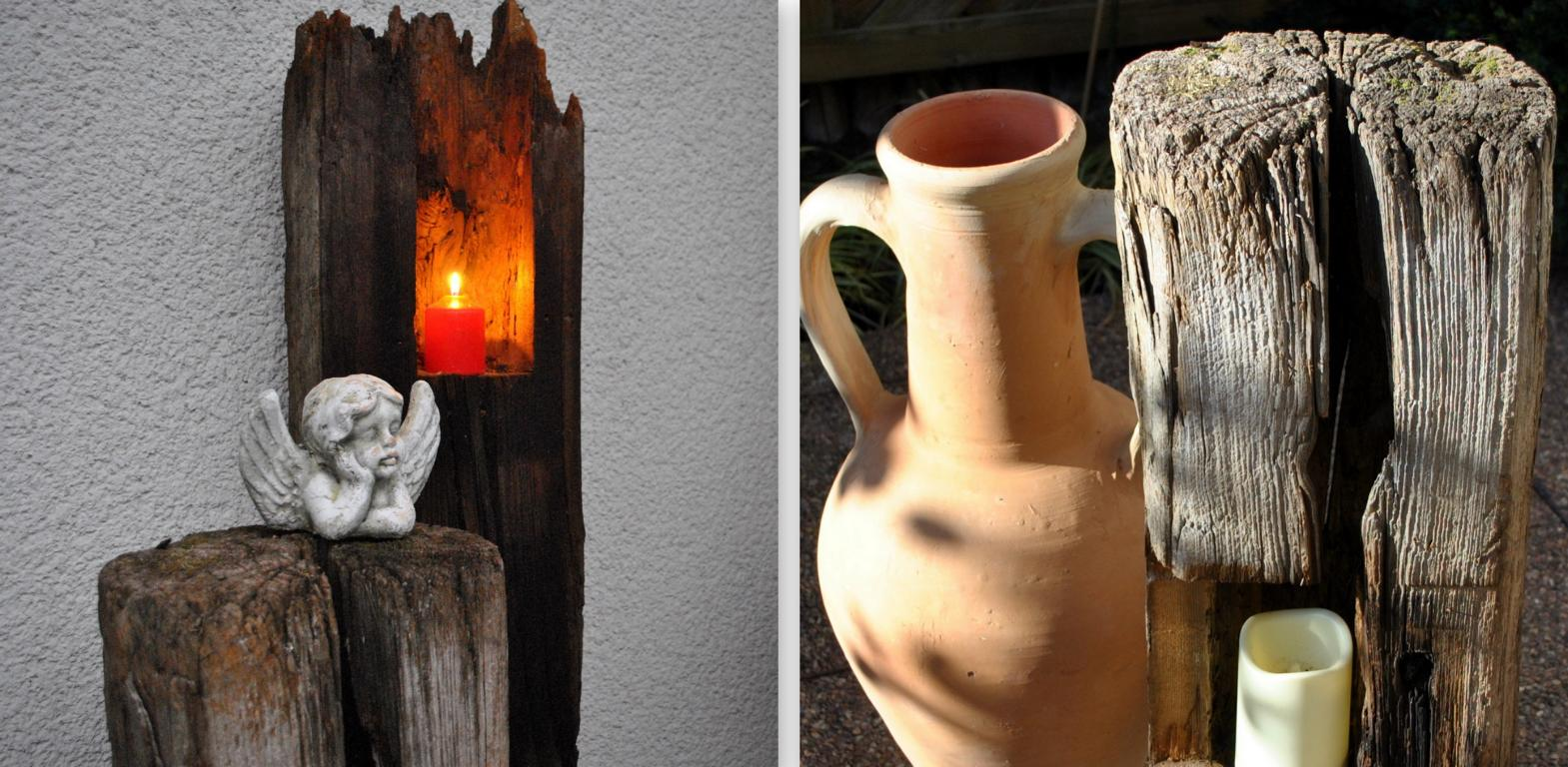 Gartendeko Blog Alter Pfosten als dekoratives Schmuckstück