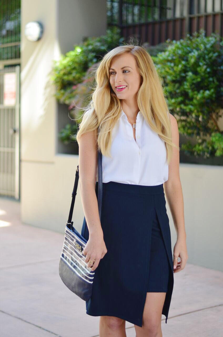 what to wear with a wrap skirt to work
