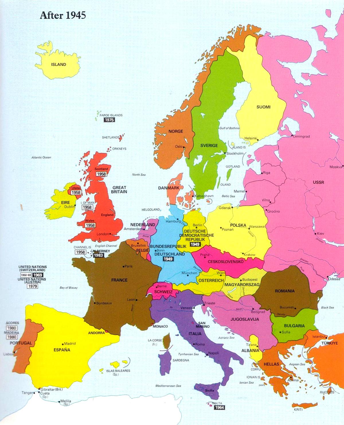 Europakart Med Navn Familie Hjorne