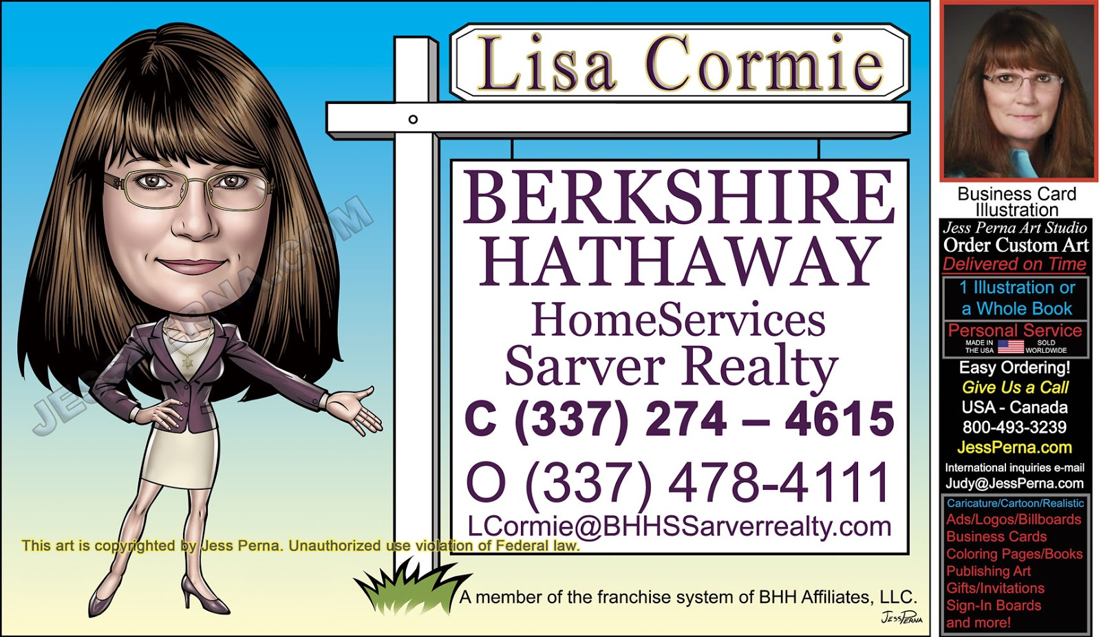 How To Order Ad Cartoons And Caricatures Bh Realty Business Card