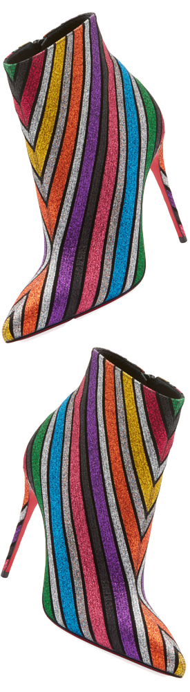 Christian Louboutin So Kate 100 Stripey Glitter Suede Booties