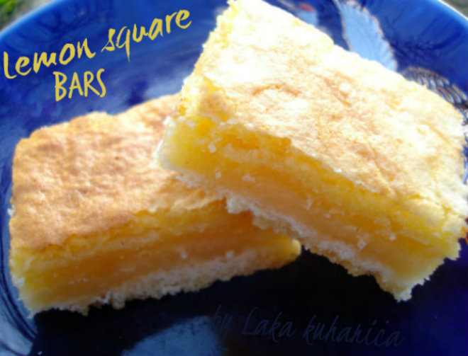 Lemon square bars by Laka kuharica: tangy, creamy and buttery-crisp.