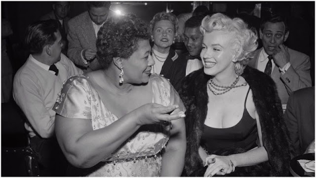 Ella Fitzgerald with Marylin Monroe