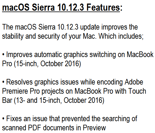 macOS Sierra 10.12.3 Features