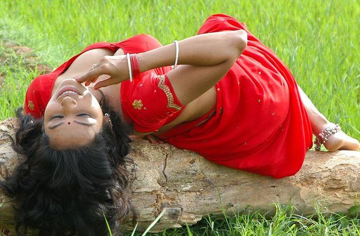 Actress Teertha in Red Saree Hot Image