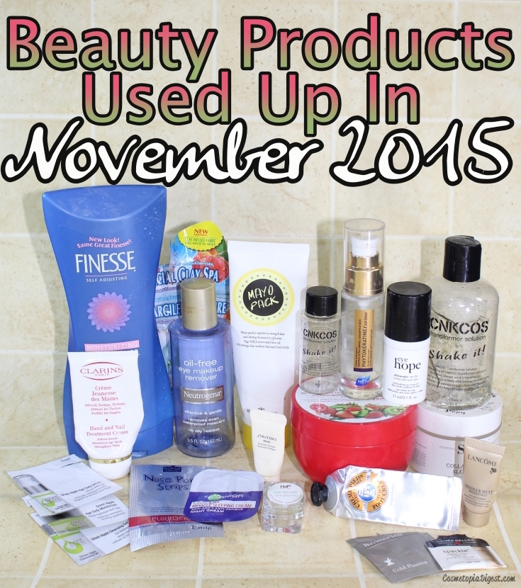 Here are the beauty products I used up in November 2015 and my thoughts on each - and a link-up!