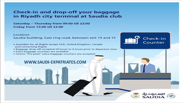 SAUDI AIRLINES ALLOW BAGGAGE DROP OFF IN CITY