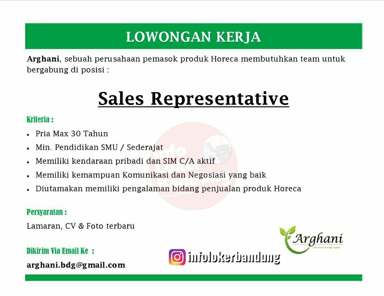 Lowongan Kerja Sales Representative Arghani Bandung Mei 2019