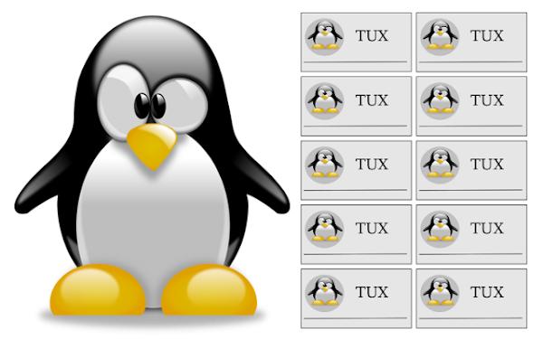 Mascote do Linux com vários cartões de visitas ao lado