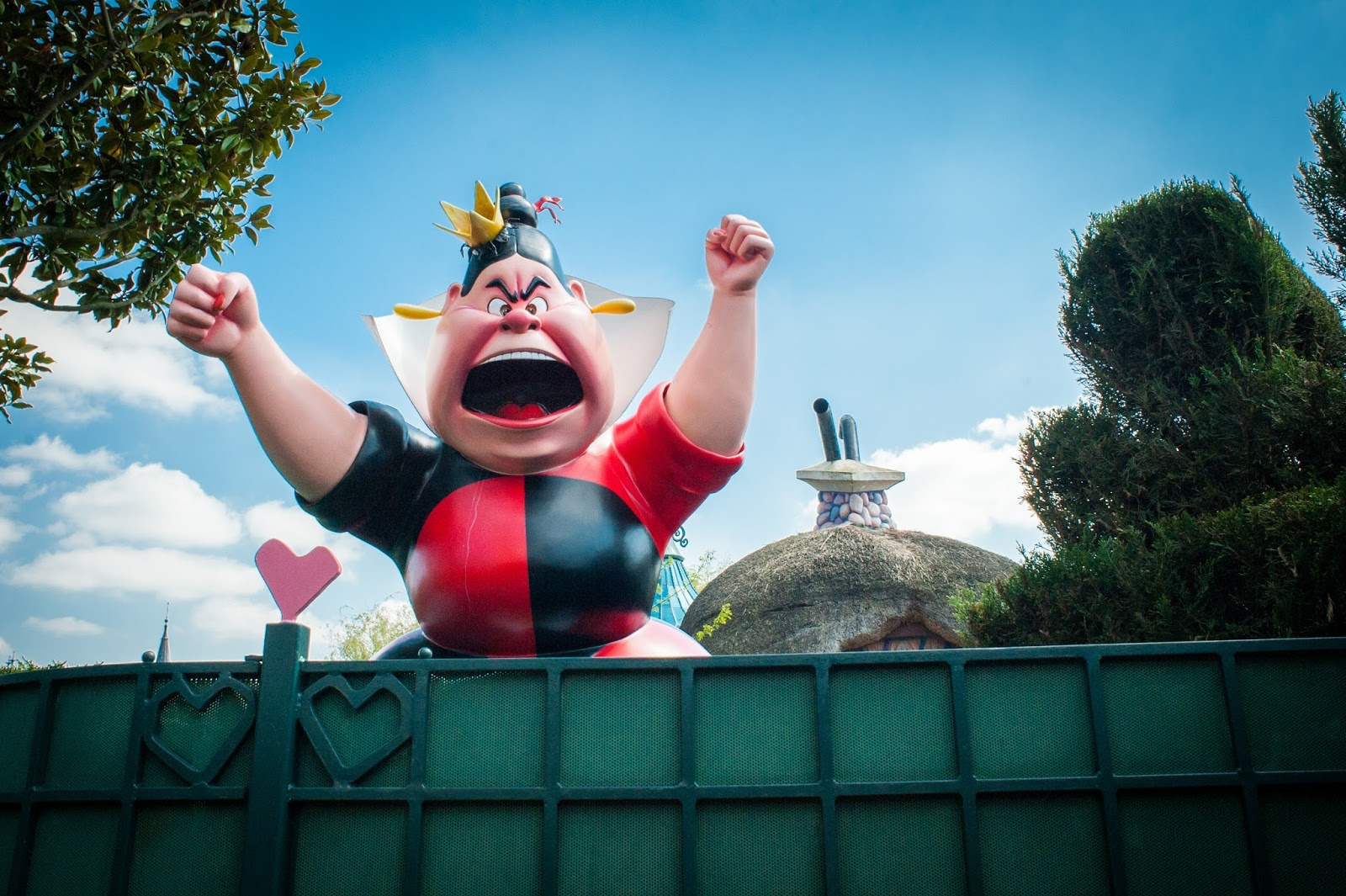 The Queen of Hearts with fists in the air at Disneyland Paris in Marne-la-Vallée Outside Paris