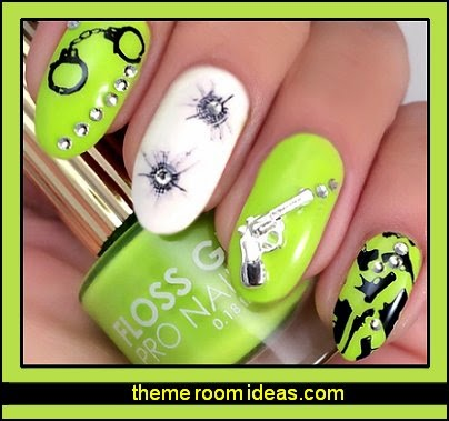 nail art Hand Gun Weapons Water Slide Nail Art Decals - Guns, Grenades, Bullets