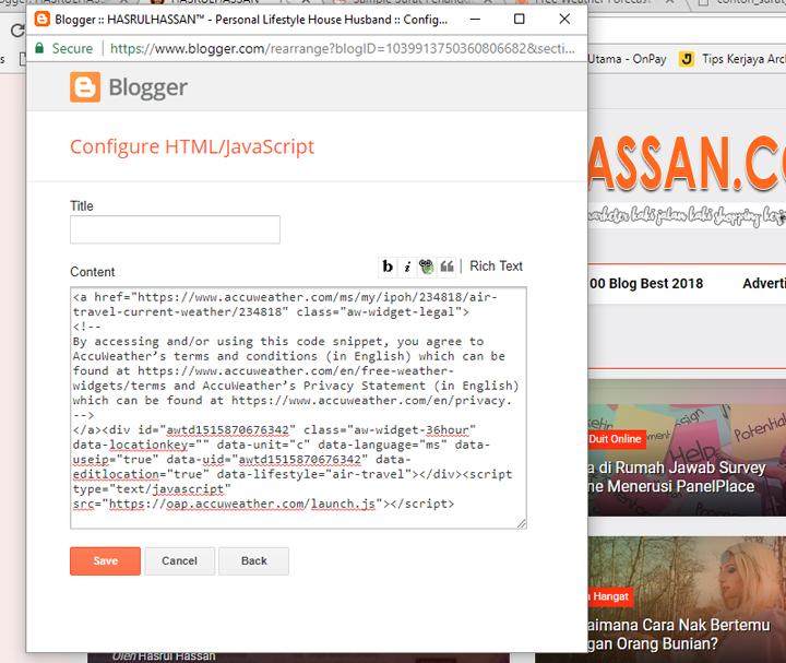 Cara letak widget dalam blogspot