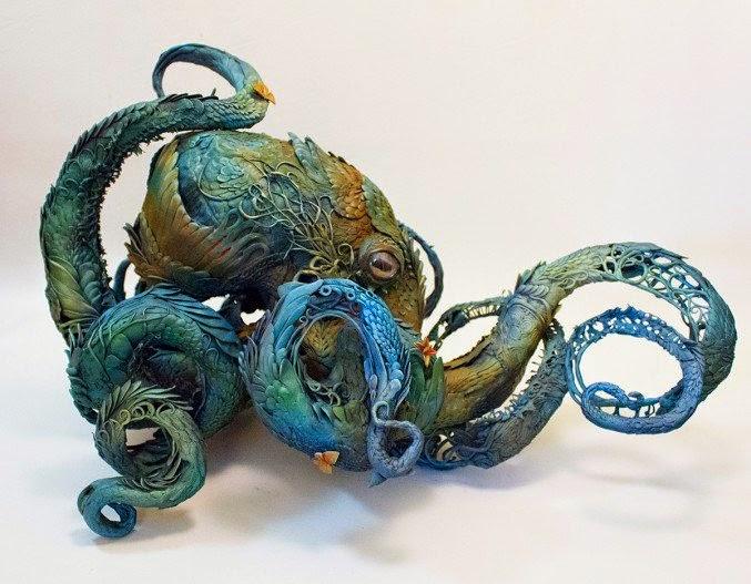 escultura de  Pulpo hecho con plantas