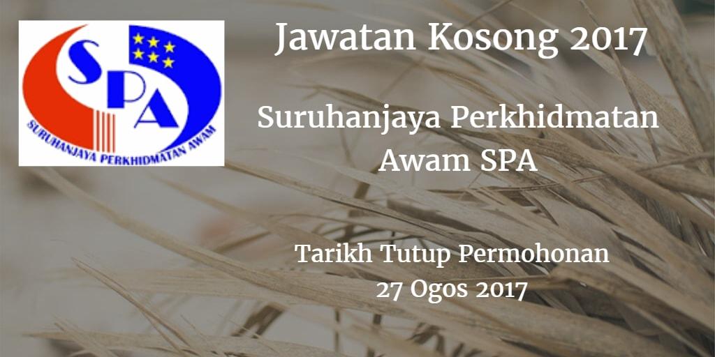 Suruhanjaya Perkhidmatan Awam SPA Jawatan Kosong SPA8 27 Ogos 2017
