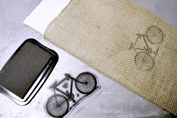 burlap and stamp pad with bicycle stamp