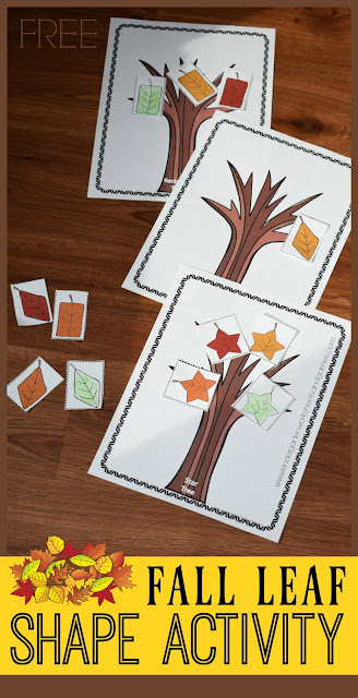 This fun fall themed shape sorting mat is a fun way for toddler, preschool, pre k, and kindergarten age kids to practice identifying shapes. In this leaf shapes for kids there is a printable leaf tree template for each shape and then various redy, yellow, orange, green, and brown shapes of the same color. Children will sort the leaves so they are on the correct tree. This shape activity for kids is such a fun, fall themed math activity that is engaging, fun and FREE!