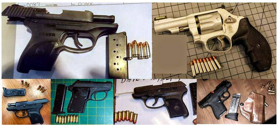 Clockwise from top left, firearms discovered at: HOU, RSW, ATL, RDU, LAS & ATL