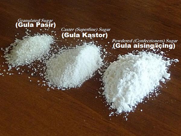 Jenis-Jenis Gula Dalam Masakan Kek Dan Kuih Muih