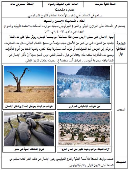 الوضعية الأم والوضعية الانطلاقية لمقطع الوسط الحي للاستاذ خالد محمودي