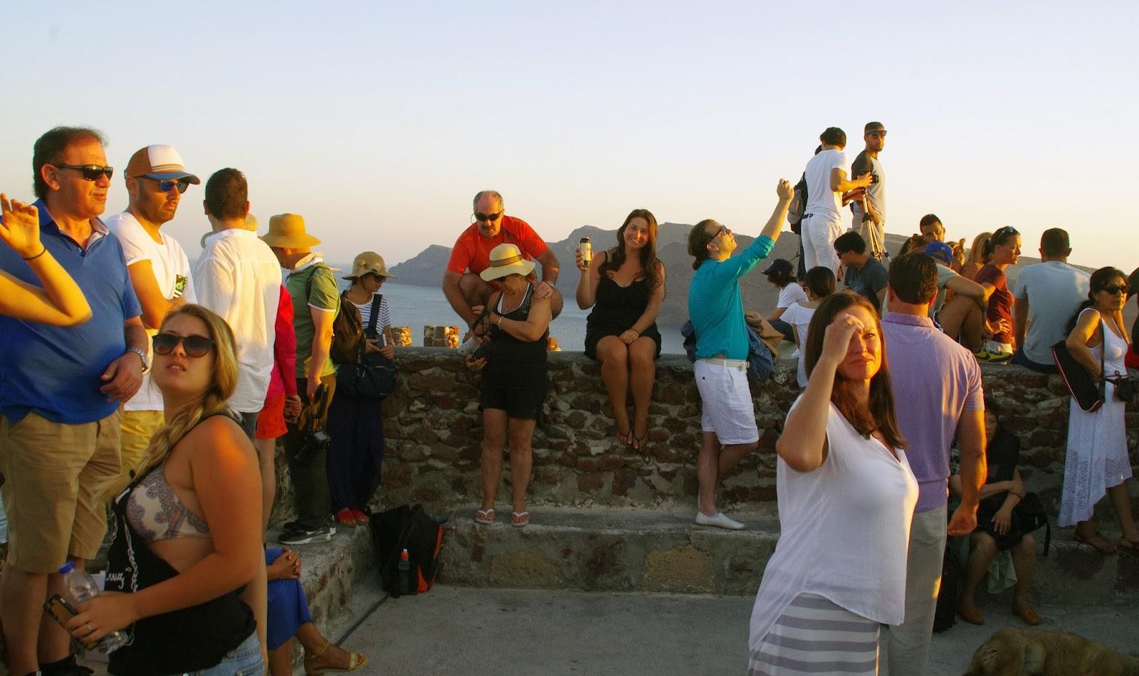 Crowds at Oia Sunset Santorini